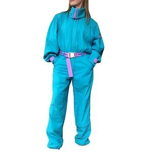 VINTAGE 80's Turquoise Blue One Piece Belted Snowsuit Long Sleeve Full Zip M/L